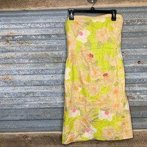 J Crew strapless linen floral dress